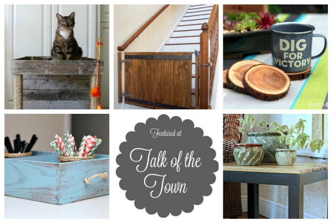 Featured at Talk of the Town: cat condo, industrial barn door gate, tree branch coasters, repurposed drawer caddy, rustic upcycled table - KnickofTime.net