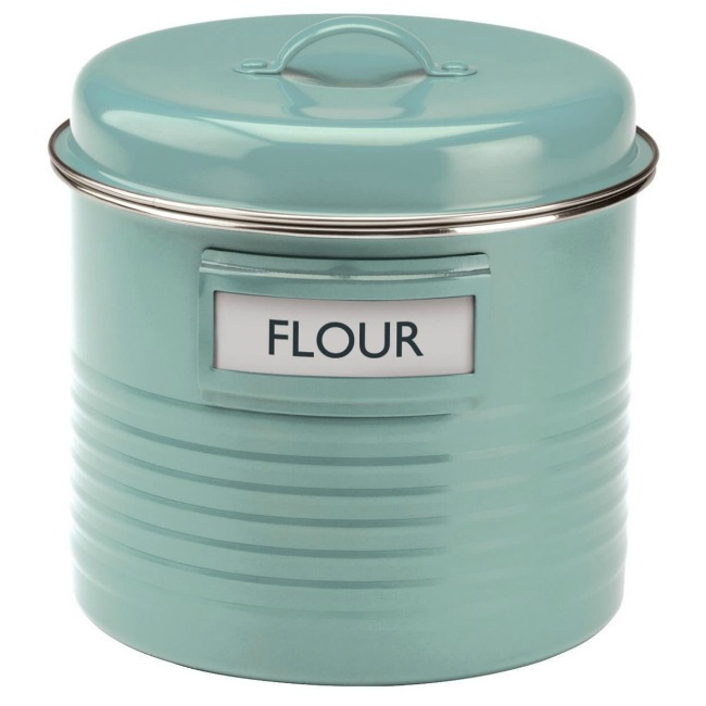 Retro style farmhouse blue storage canister - www.knickoftime.net