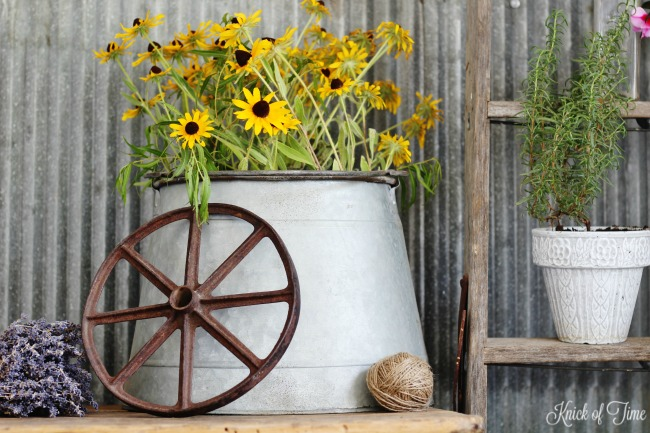 farmhouse she shed ladder plant stand galvanized flower bucket - Knick of Time