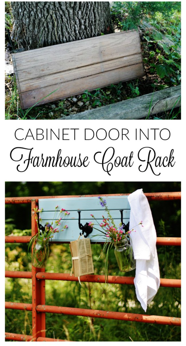 Turn an ordinary old cabinet door into a DIY coat rack that's loaded with farmhouse style! - KnickofTime.net