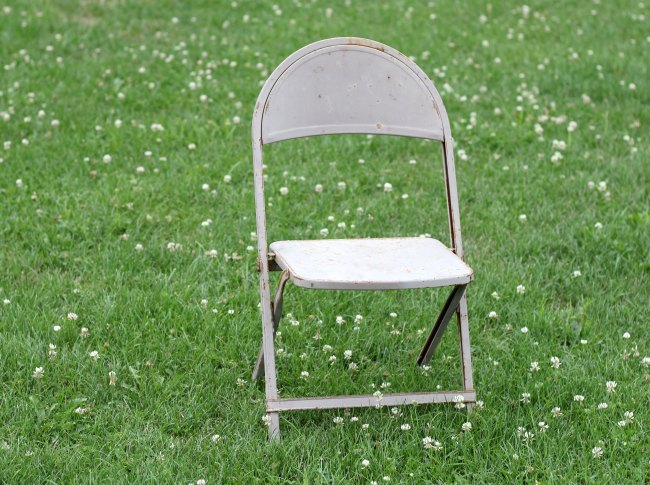 vintage metal folding chair