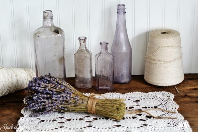 Lavender vintage glass bottles for home decor - KnickofTime.net