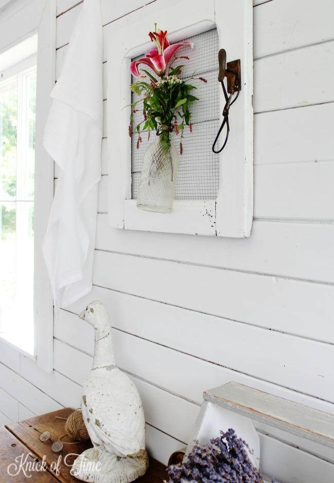repurposed cabinet door farmhouse wall vase