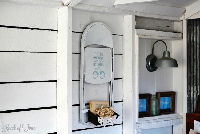 repurposed folding chair wall bin - Knick of Time