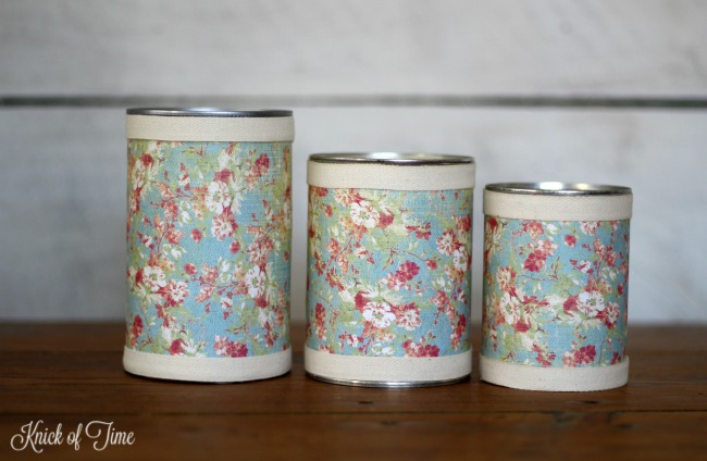 Repurposed tin cans office organizer