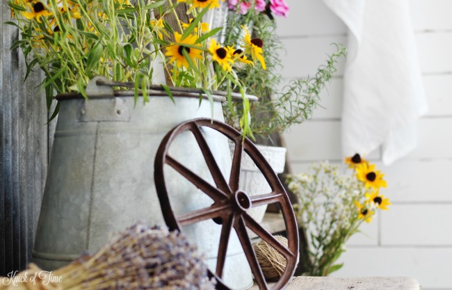 rusty wheel blooming ladder plant stand - Knick of Time