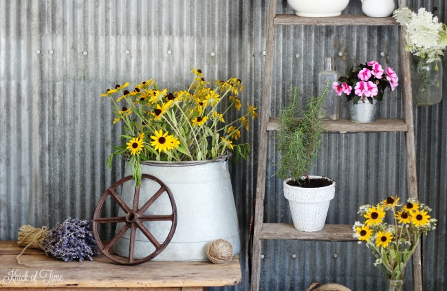 summer flowers on repurposed vintage ladder - Knick of Time