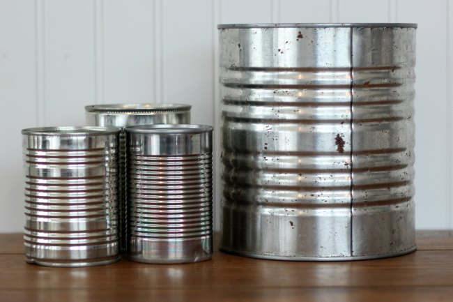 Save empty tin cans to use for inexpensive home decor and craft projects - www.knickoftime.net