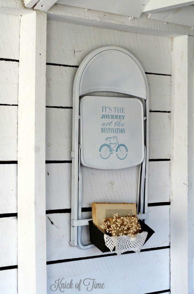 upcycled folding chair and bread tin