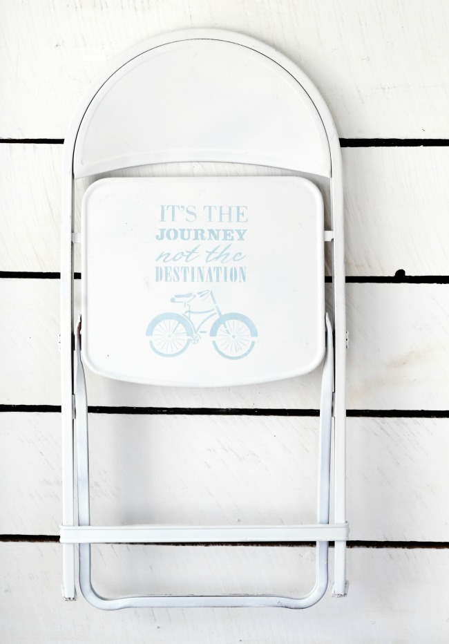 upcycled stenciled folding chair