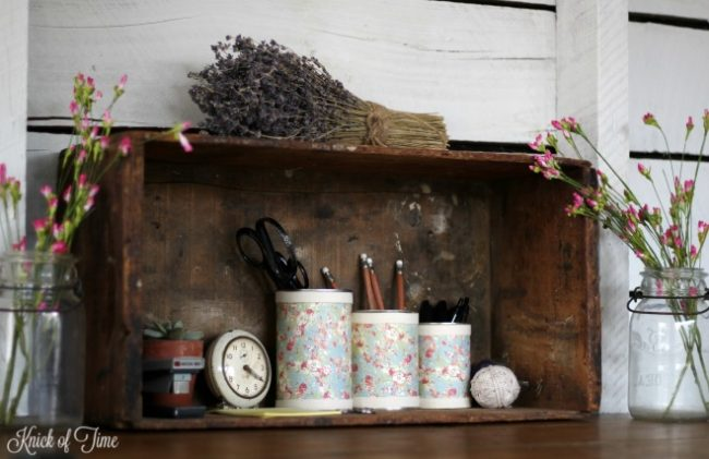 Turning tin cans into desk organizers is a cheap, but pretty way to get desk clutter under control - www.knickoftime.net