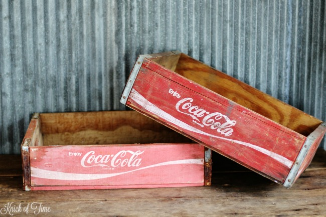 Classic red and white Coke crates for vintage home decor - Knick of Time.net
