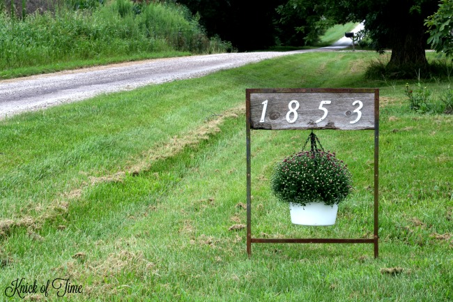 Turn salvaged junk into a house numbers sign with a hanging planter - www.knickoftime.net