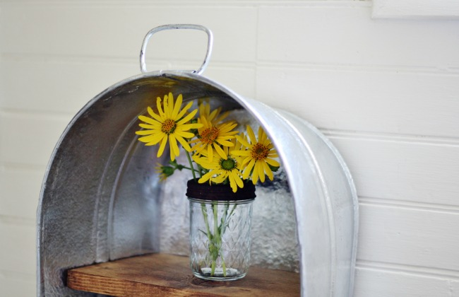 DIY washtub shelf