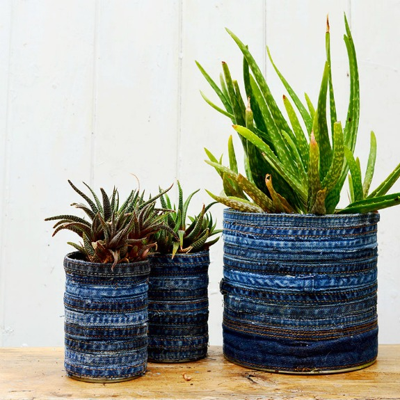 Recycled Denim Tin Can Succulent Planters : 20+ Creative Ways to Repurpse Tin Cans | www.knickoftime.net