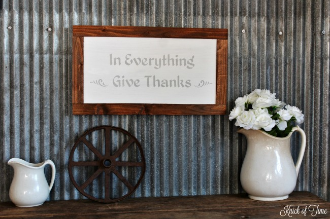 "DIY Autumn ""Give Thanks"" painted sign - www.knickoftime.net"