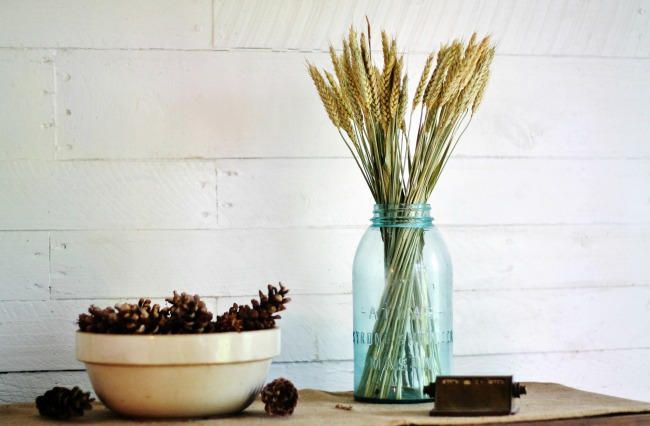 Fill an antique mason jar with stalks of wheat and fill an old bowl with pine cones for inexpensive fall decor | https://knickoftime.net/