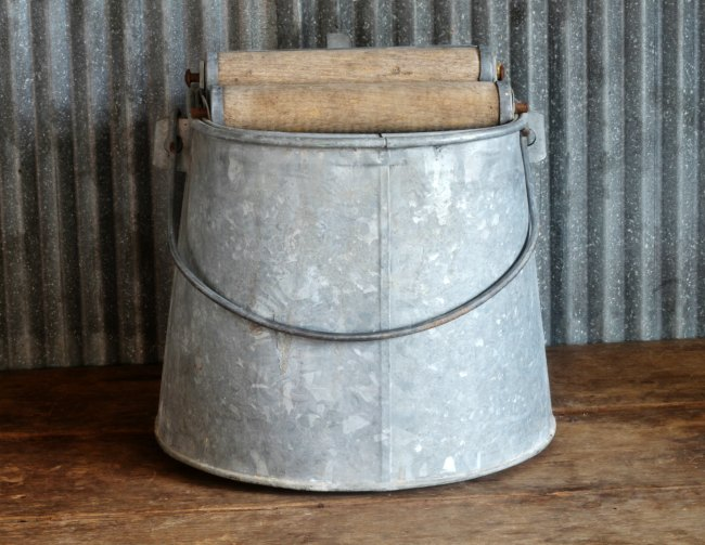 antique galvanized mop bucket