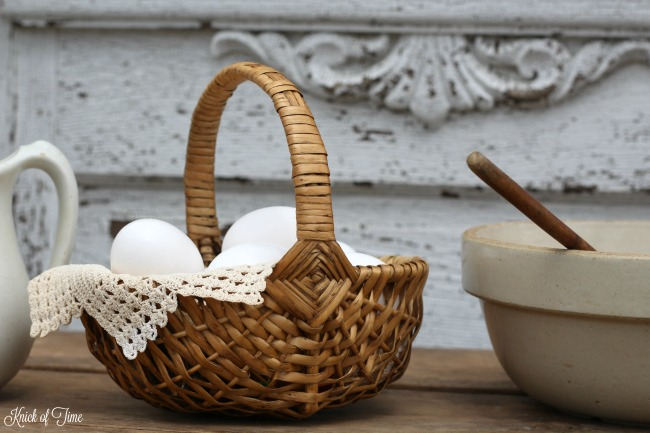 eggs in woven basket Knick of Time