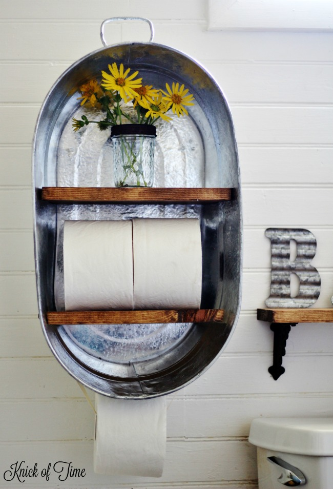 Turn a metal wash tub from the farm supply store into a farmhouse bathroom shelf - www.knickoftime.net