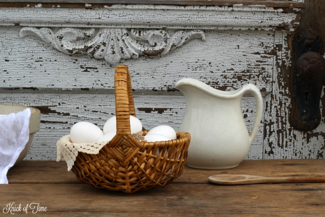 farmhouse egg basket ironstone pitcher