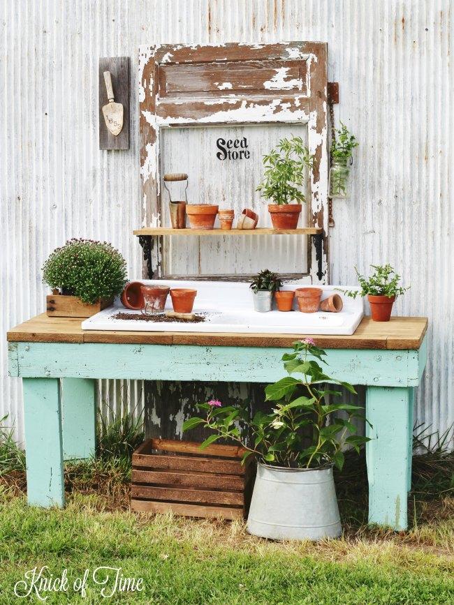 farmhouse style potting table - www.knickoftime.net