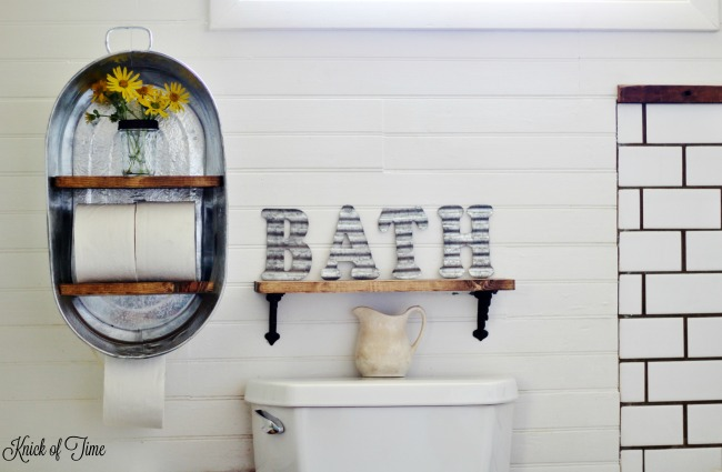 galvanized tub bathroom shelf