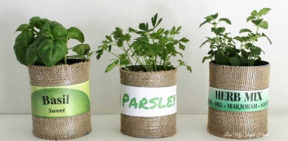 Herb Planters in Upcycled Cans: 20+ Creative Ways to Repurpse Tin Cans | www.knickoftime.net