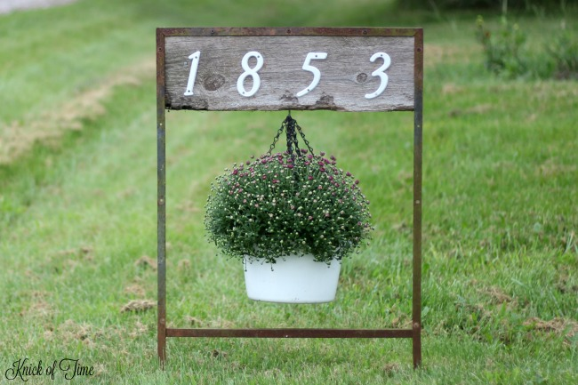Turn salvaged junk into a house address sign with hanging flower pot - www.knickoftime.net