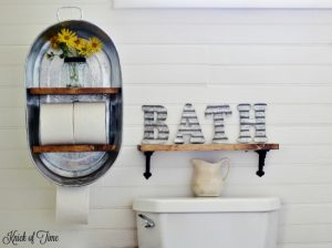 Farm Supply Inspired Washtub Hanging Wall Shelf Towel Rack