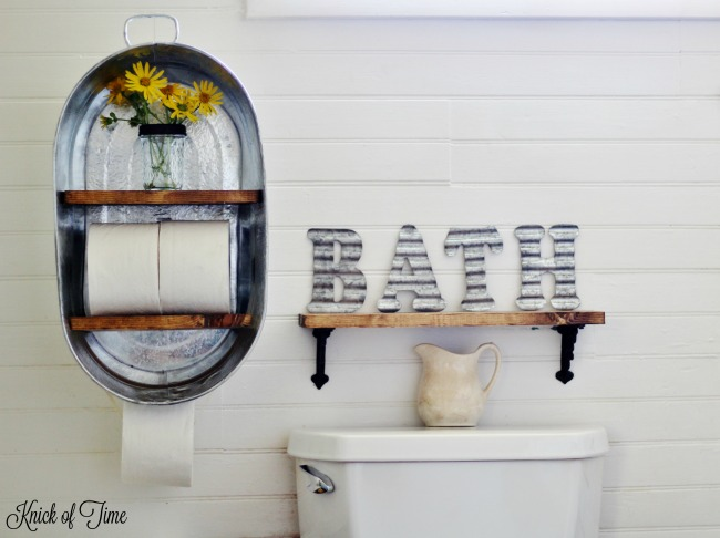 DIY metal washtub farmhouse style shelf tutorial - www.knickoftime.net