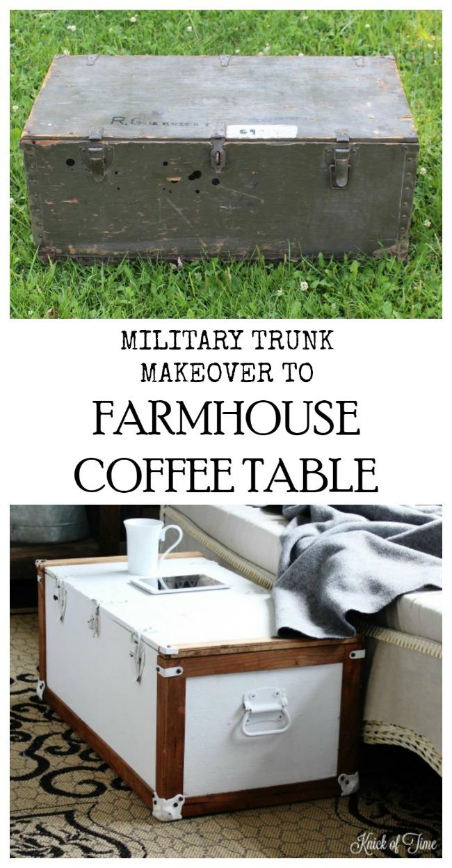 Military trunk transformed into Farmhouse Coffee Table - www.knickoftime.net