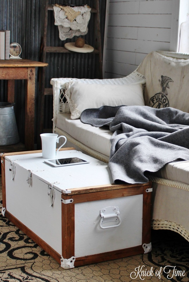 Military trunk transformed into Farmhouse Coffee Table - www.knickoftime.net