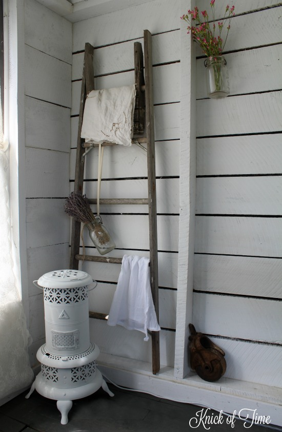 Give a worn out old oil heater a farmhouse beauty salon makeover! | www.knickoftime.net