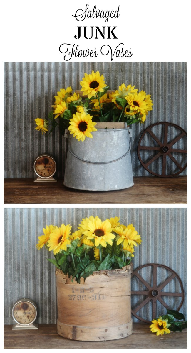 Repurposed junk flower vases | www.knickoftime.net