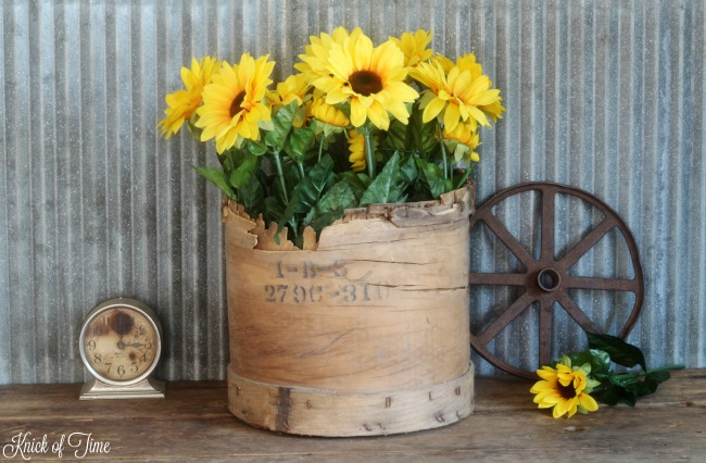 Think outside the vase and use salvaged junk as unique flower holders! - www.knickoftime.net