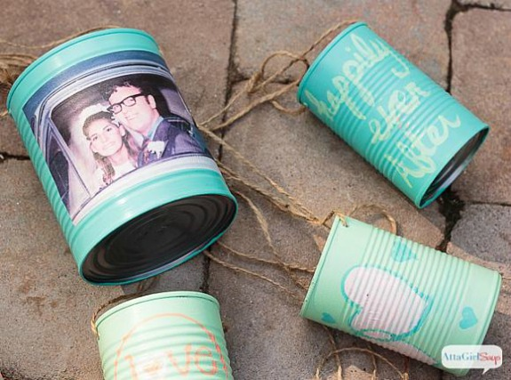 Personalized Wedding Car Cans: 20+ Creative Ways to Repurpse Tin Cans | www.knickoftime.net