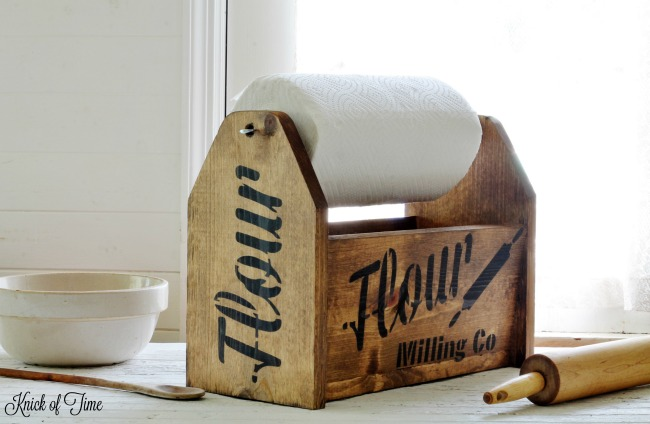wooden tool tote kitchen storage paper towels holder - www.knickoftime.net