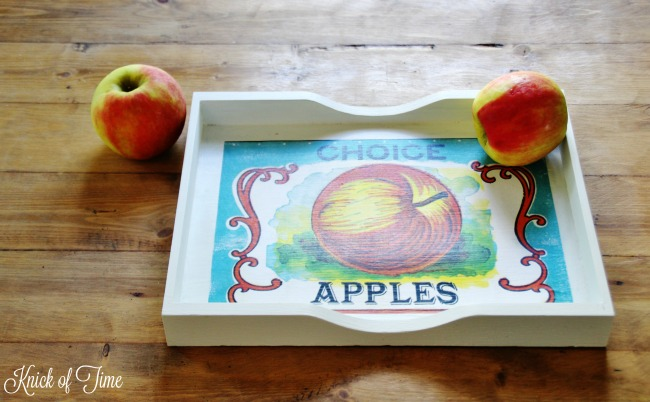 wooden tray apples