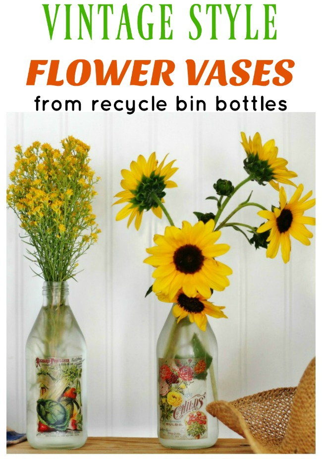 Brighten someone's day with flowers in a DIY vintage graphics flower vase - www.knickoftime.net