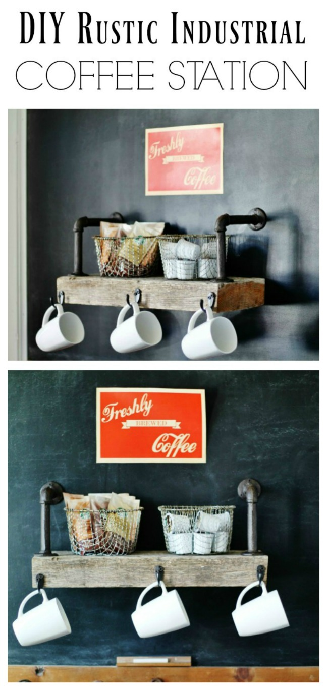 DIY Rustic Industrial Style Coffee Shop Shelf - www.KnickofTime.net