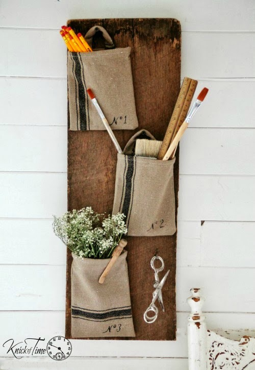 DIY Farmhouse Style Grain Sack Wall Pockets - www.knickoftime.net