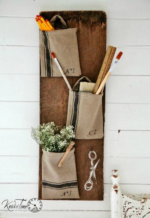 DIY Farmhouse Style Grain Sack Wall Pockets - www.knickoftime.net