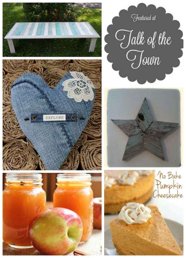 TotT 38 featured projects | repurposed frame pallet wood table, repurposed jeans stitched heart, spiked apple cider, no bake pumpkin cheesecake, reclaimed wood hearts | www.knickoftime.net