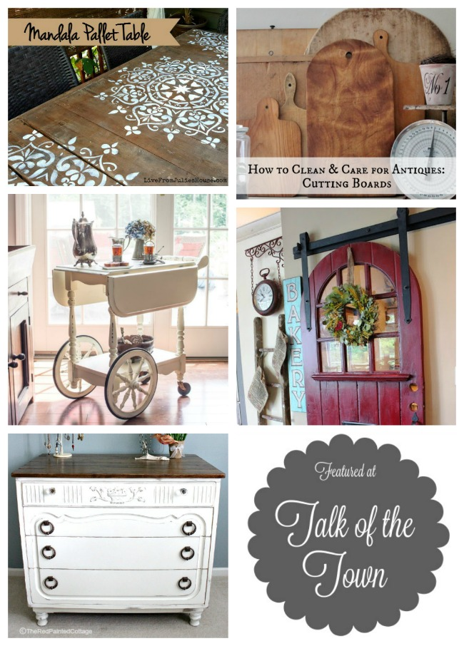 mandala stenciled table, upcycled tea cart, sliding pantry door and more featured at Talk of the Town - www.knickoftime.net