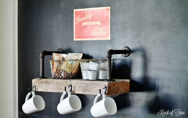 DIY Rustic Industrial Coffee Shop Wood Shelf Tutorial | www.knickoftime.net