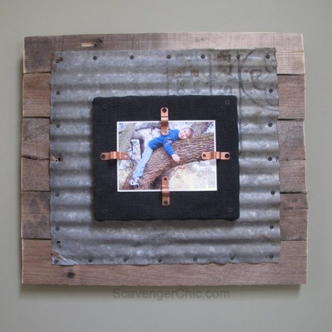 corrugated metal and pallet wood photo frame by Scavenger Chic