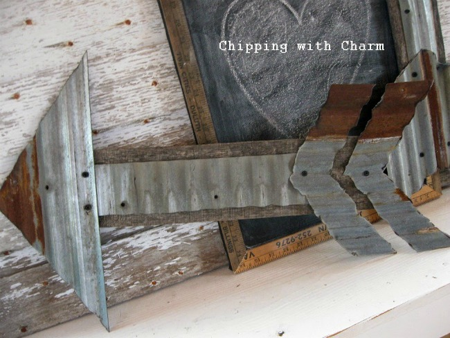 corrugated metal barn tin and pallet wood arrow by Chipping with Charm