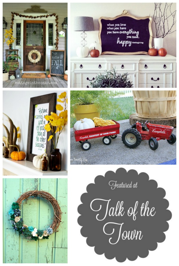 Fall porches, home decor and DIY projects featured at Talk of the Town - www.knickoftime.net