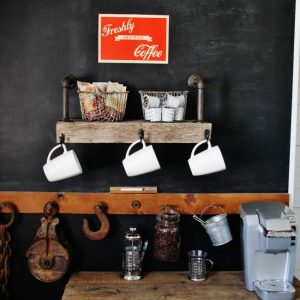 how to make a reclaimed wood farmhouse style coffee station - www.knickoftime.net
